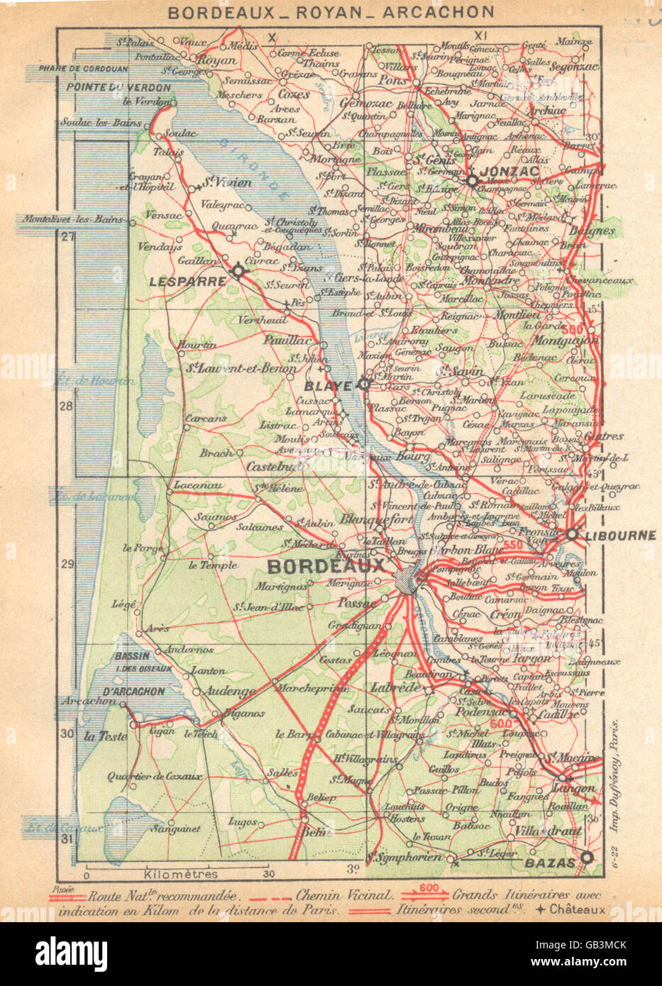 Carte Bordeaux Royan.Gironde Bordeaux Royan Arcachon 1922 Carte Vintage