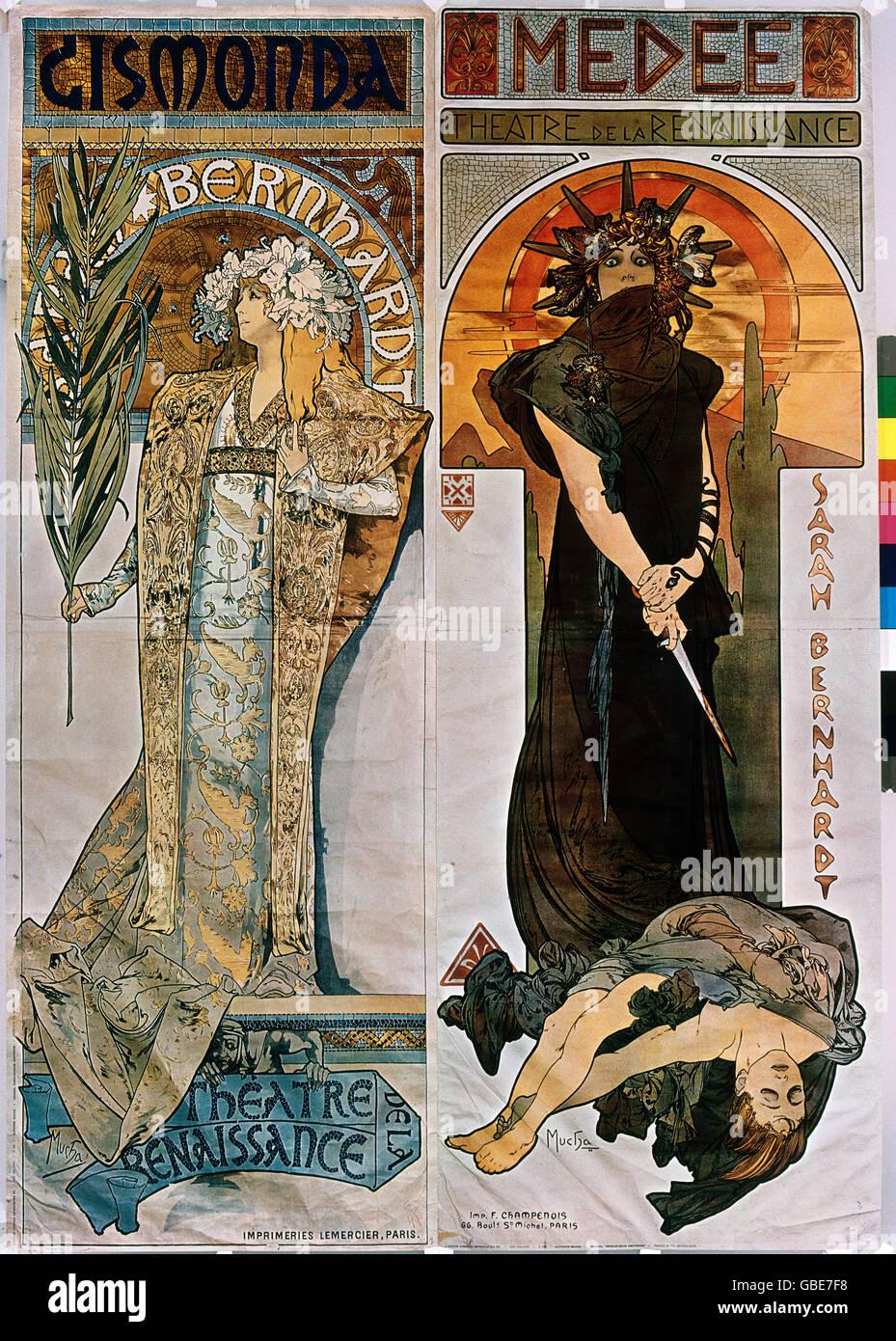 Beaux-arts, Mucha, Alfons (1860 - 1939), affiche, affiches publicitaires pour le théâtre de la Renaissance, Paris, à gauche: 'Gismonda' avec Sarah Bernhardt, 1894, à droite: 'Medee', 1898, Banque D'Images