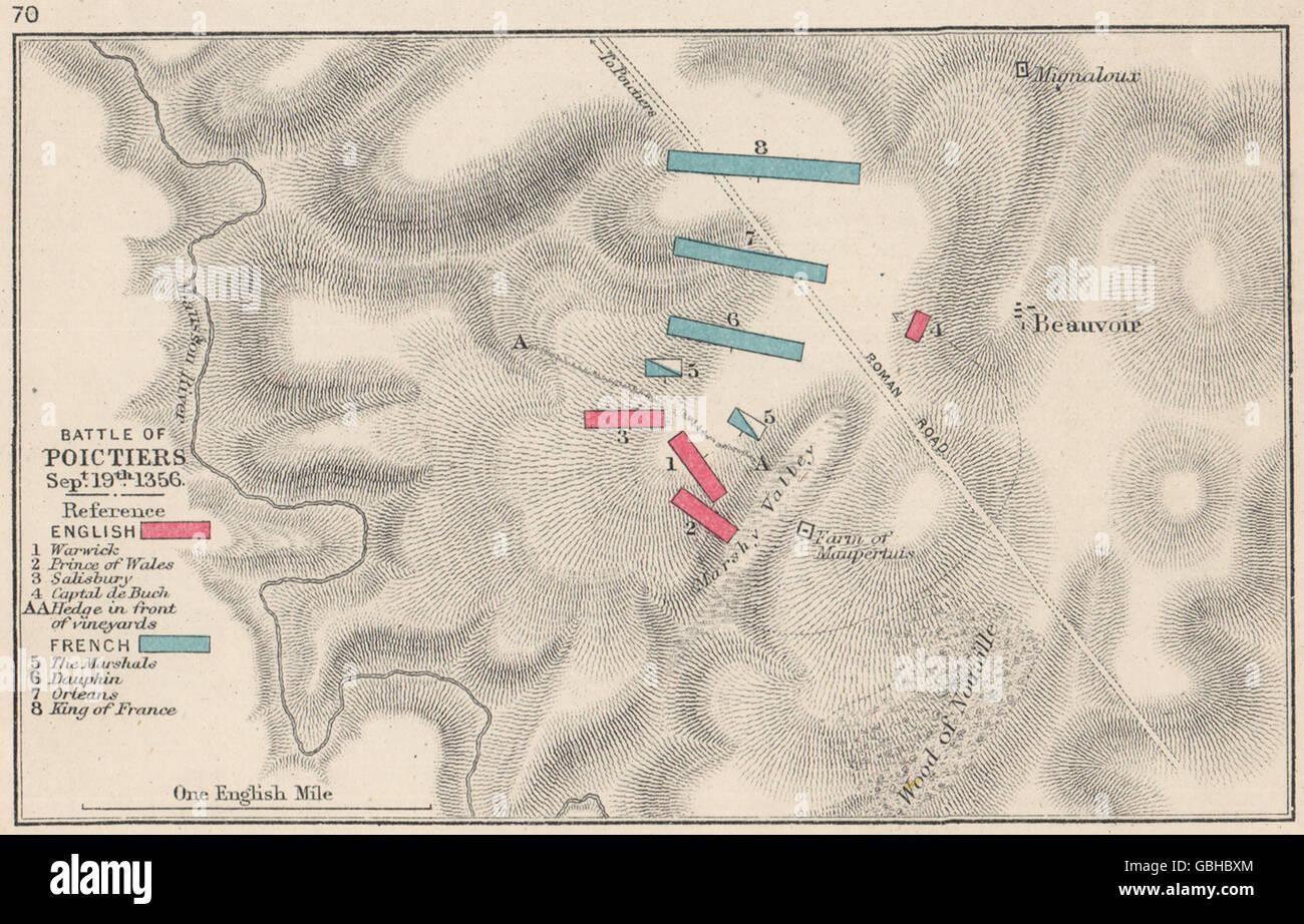Bataille De Poitiers 19 Sept 1356 V Francais Guerre De Cent Ans Petite Carte 1907 Photo Stock Alamy