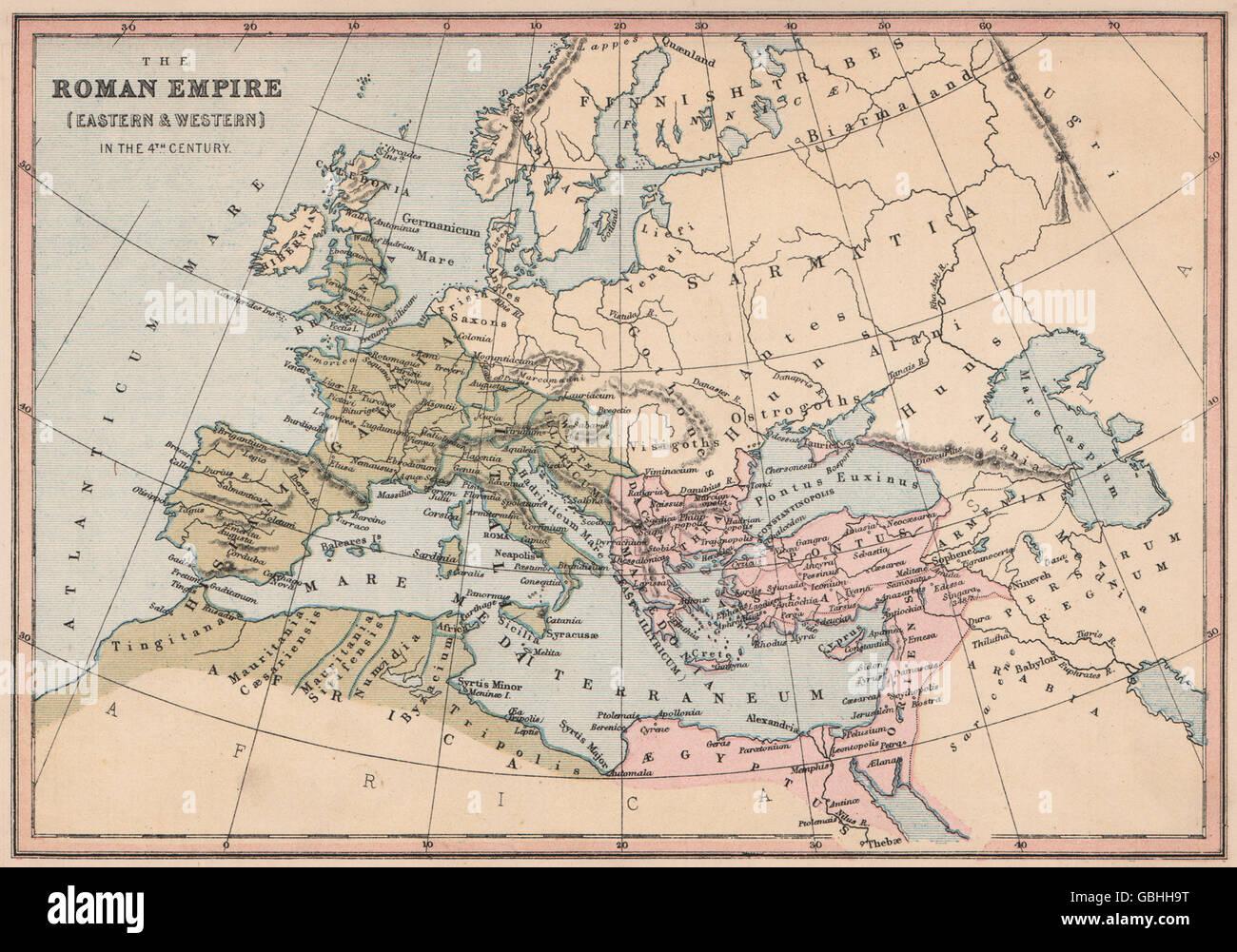 4ème siècle l'Europe: l'Empire romain (l'Est et l'Ouest) . COLLINS, 1880 map Photo Stock