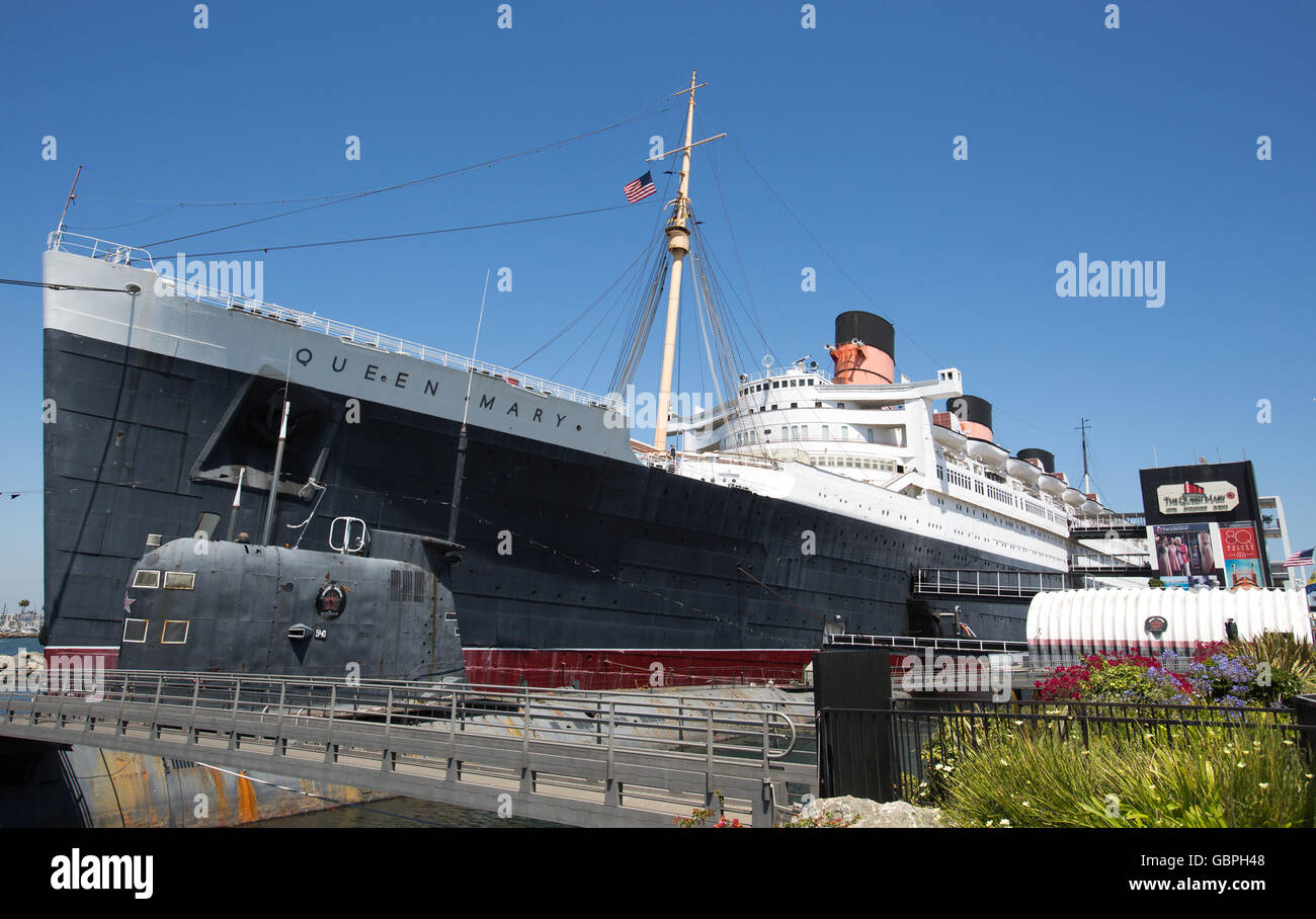 RMS Queen Mary à Long Beach, Californie Banque D'Images