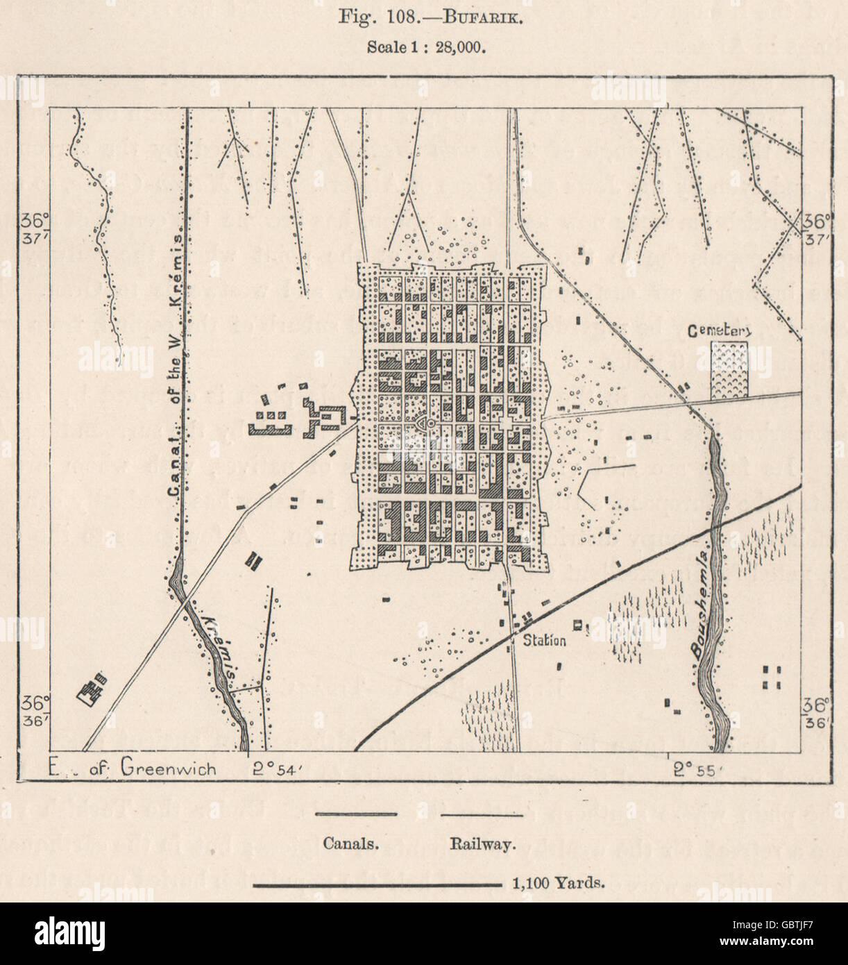Carte Algerie Boufarik.Boufarik L Algerie 1885 Carte Antique Banque D Images
