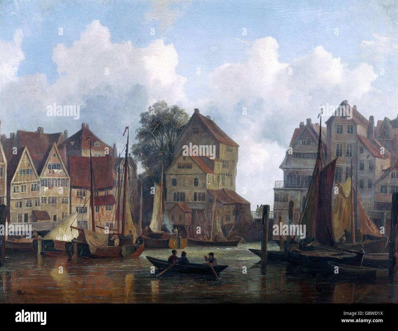 Beaux-arts, Vollmer, Adolph Friedrich (1806 - 1875), peinture, 'Die kleine Alster' (Le Petit Lac Alster), Photo Stock