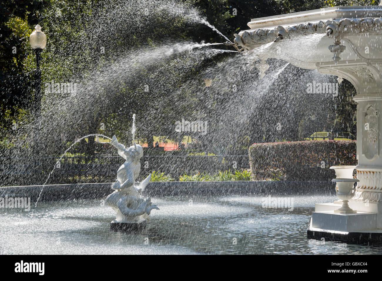 Close up de fontaine dans Forsyth Park, Savannah, GA, États-Unis d'Amérique Photo Stock