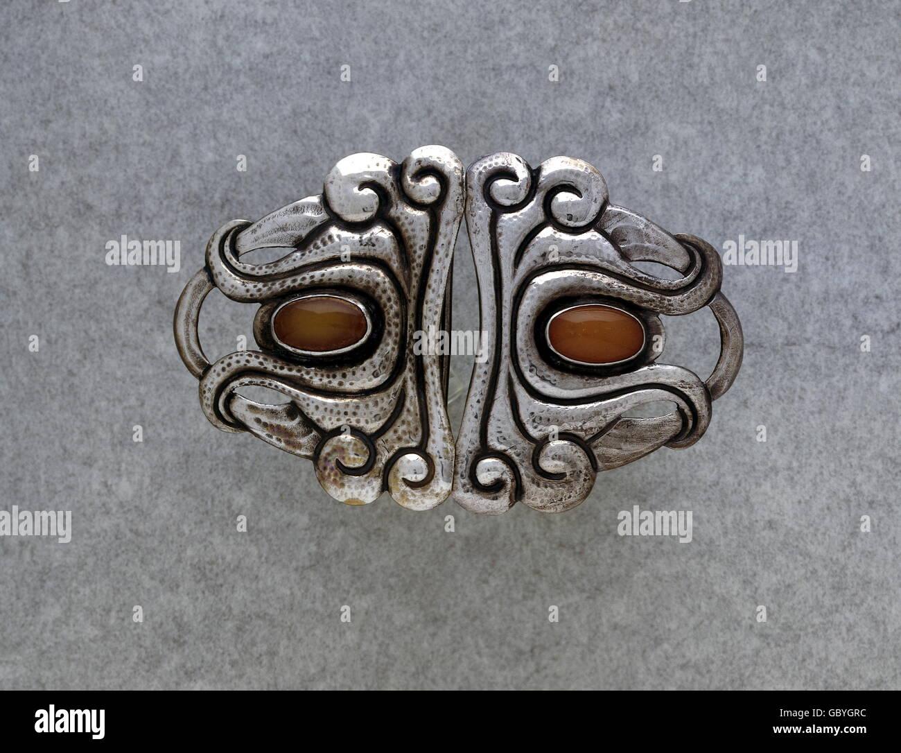 Bijoux, boucle de ceinture, argent, fer forgé, deux moonstones, deux ... 4002d2d1136