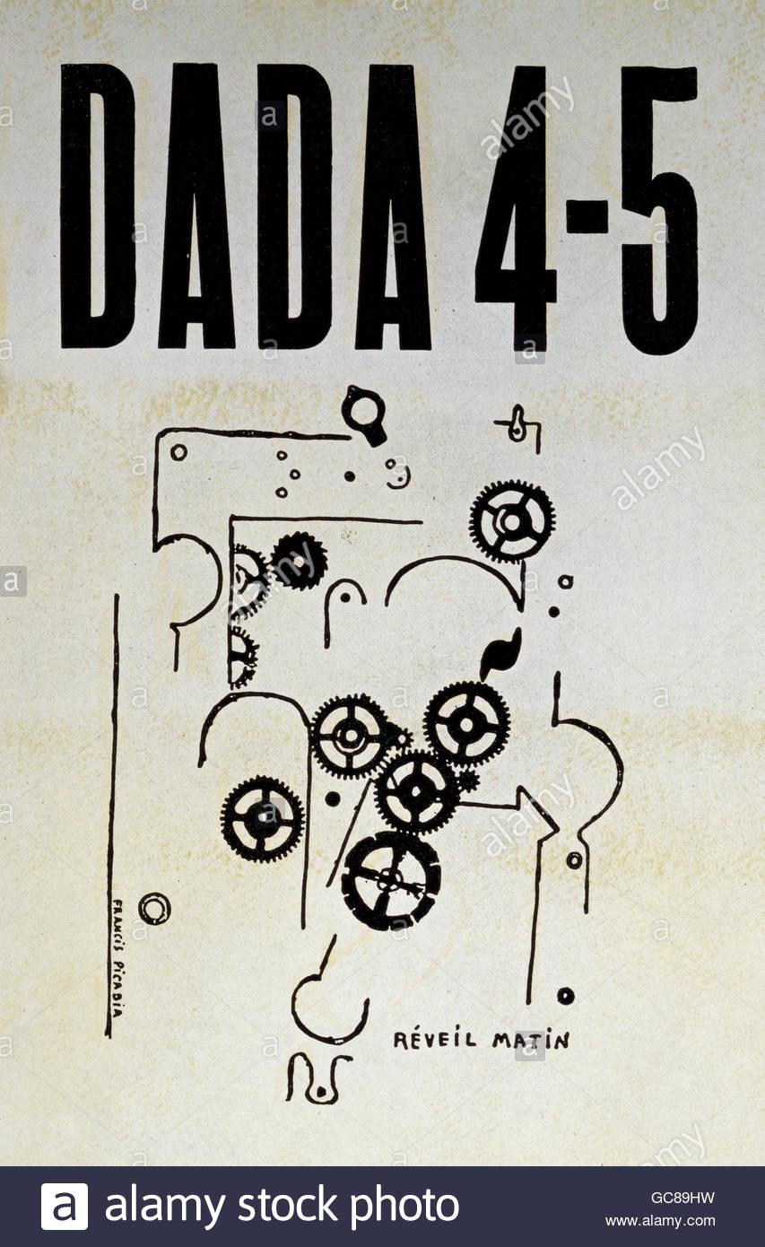 Presse/médias, journaux / magazines, Dada, numéro double 4/5, titre, illustration de Francis Picabia (1879 Photo Stock