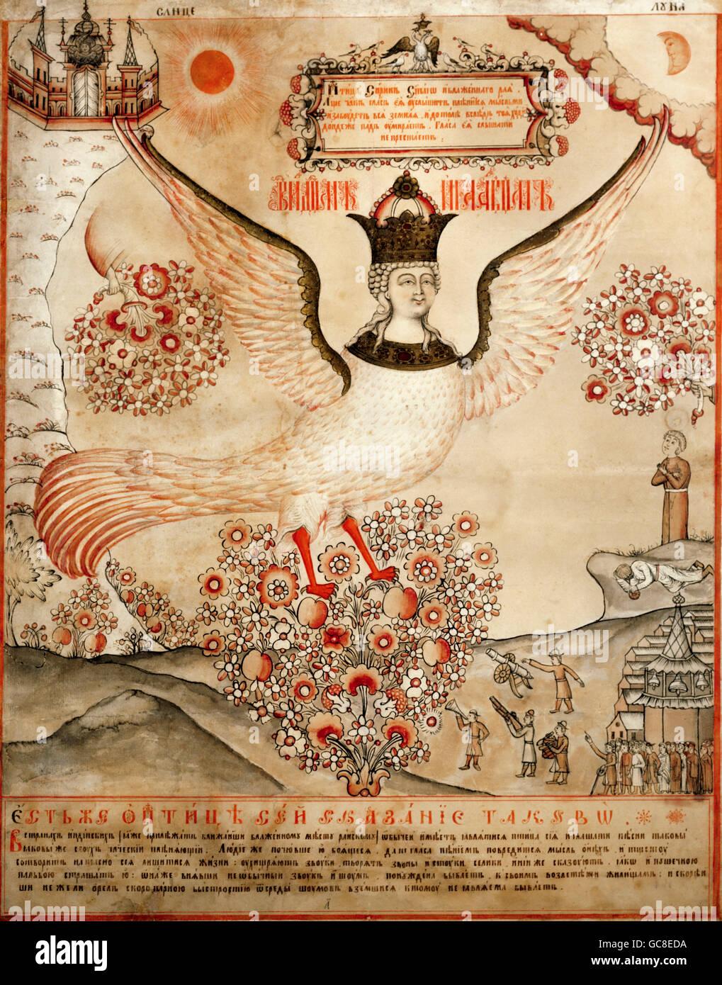 La superstition, créatures mythiques, Sirin, encre et tempera, Russie, début du xixe siècle, musée Photo Stock