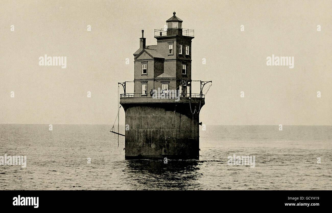 La Banque mondiale, phare de 14 pieds de Delaware. Bâti sur du sable. Vers 1900 Photo Stock