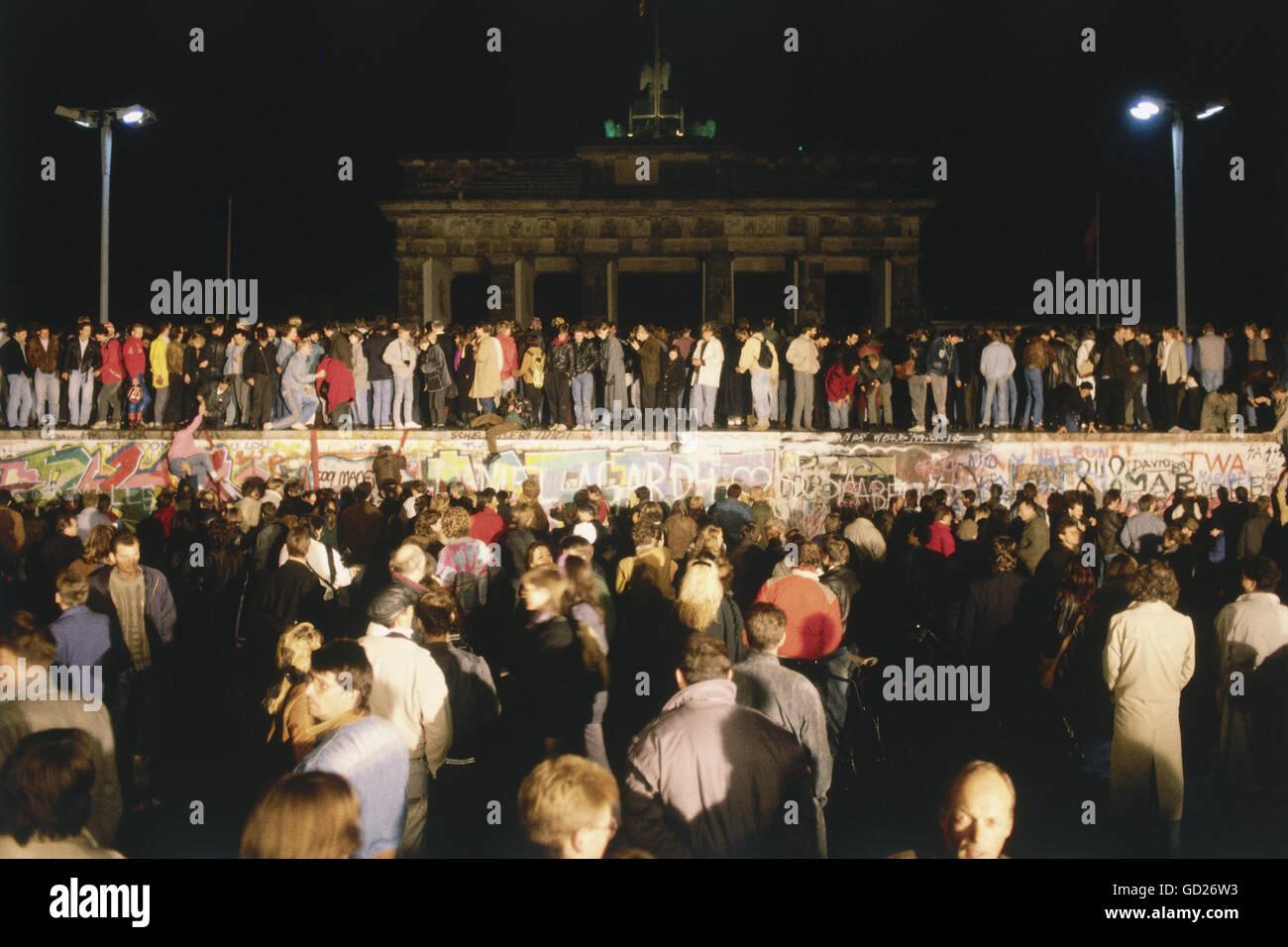 Géographie / billet, l'Allemagne, la réunification de l'Allemagne, chute du Mur de Berlin, 09.11.1989, Photo Stock