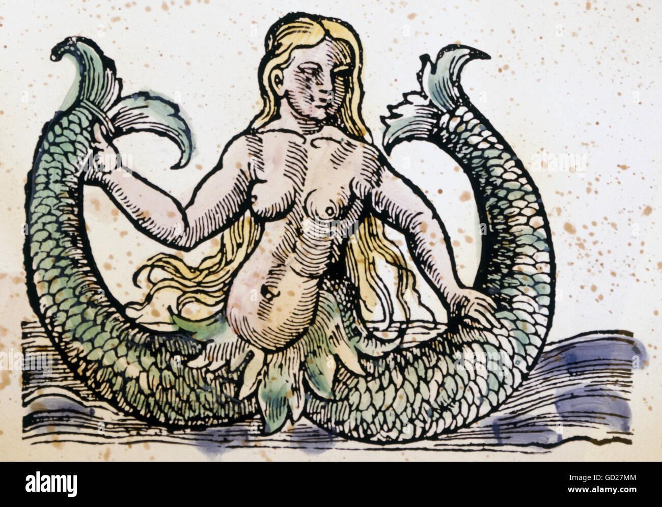 La superstition, créatures mythologiques, double fishtailed Mélusine, gravure sur bois en couleur, l'Allemagne, Banque D'Images