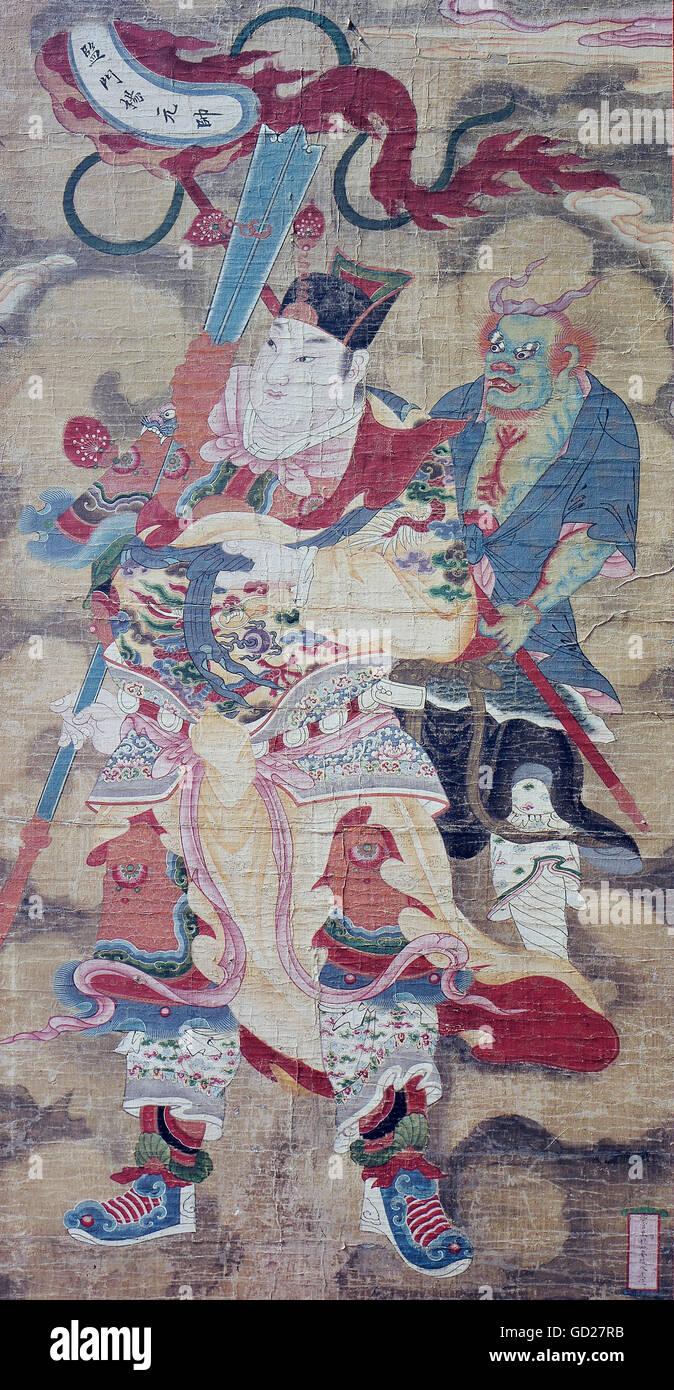 Beaux Arts Peinture Mythical General Avec Daemon Papier De Soie Sur Toile Chine 19e Siecle Collection Privee L Artiste N A Pas D Auteur Pour Etre Efface Photo Stock Alamy
