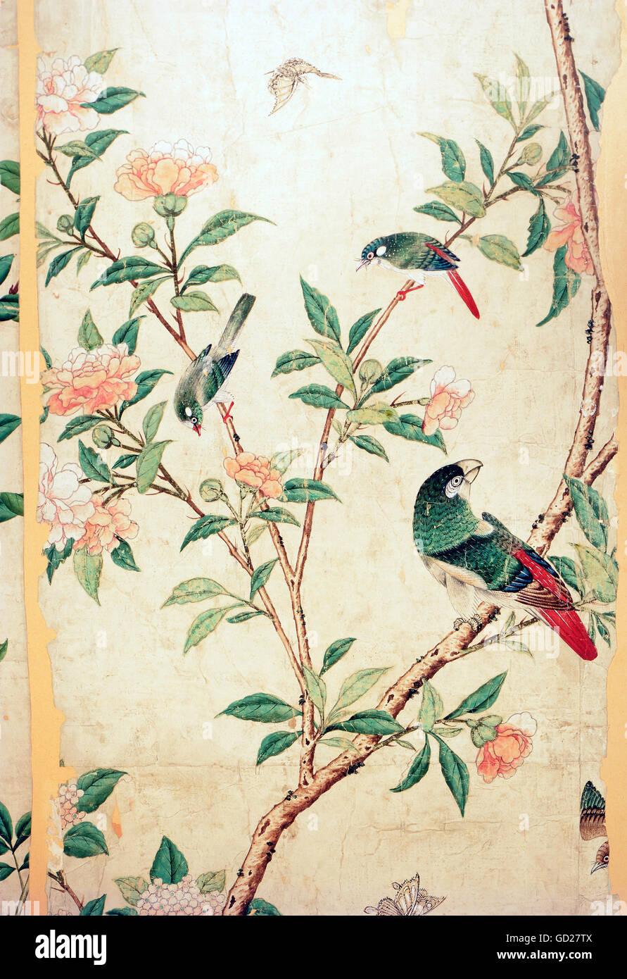 Papier Peint Avec Perroquet beaux-arts, peinture, un perroquet et deux oiseaux chanteurs