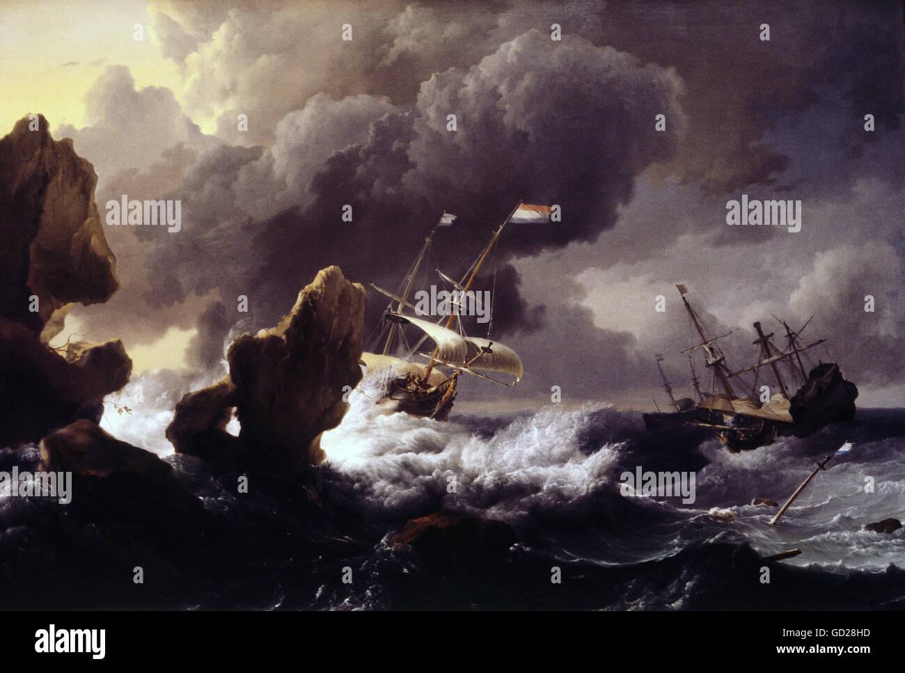 Beaux-arts, Ludolf Bakhuizen, (1630 - 1708), la peinture, les navires dans une tempête avant d'une falaise, Photo Stock