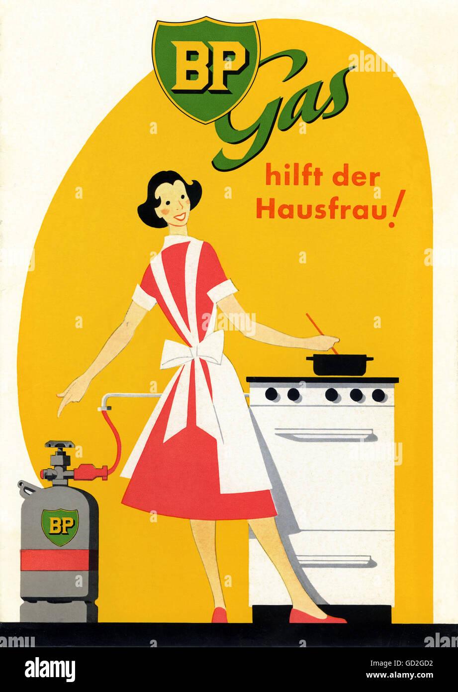 049009e72d712 La publicité, ménage, BP Gas est le helper pour chaque femme au foyer,  panneau publicitaire, femme au foyer est la cuisson à gaz avec gamme de BP,  ...