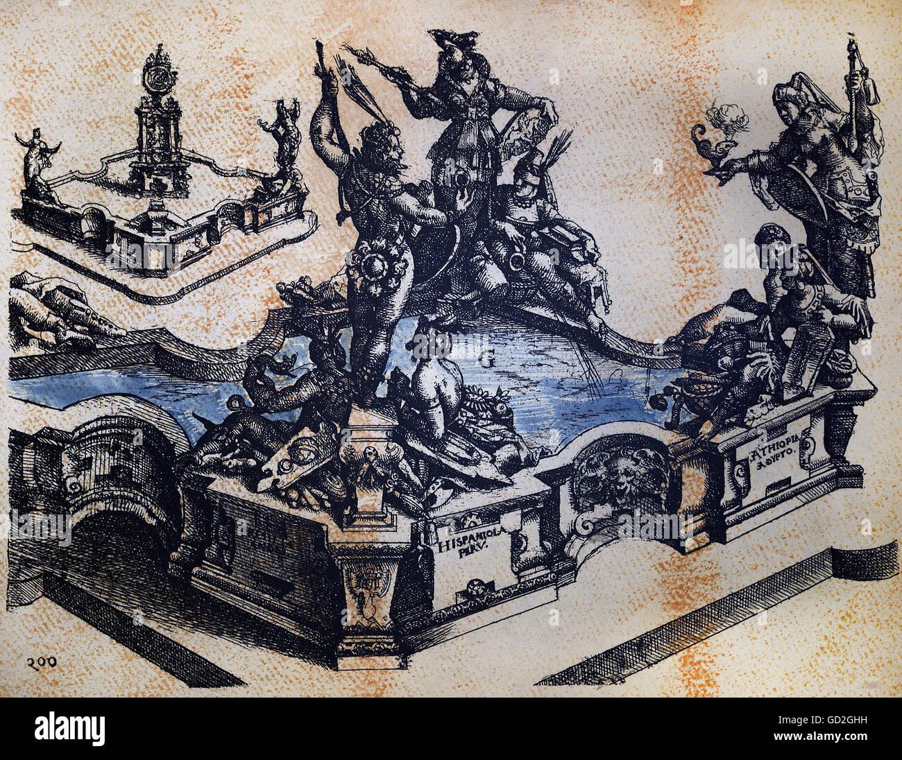 Beaux-arts, Dietterlin, Wendel (1550 / 1551 - 1599), gravure, concept pour une fontaine des continents, à partir Photo Stock