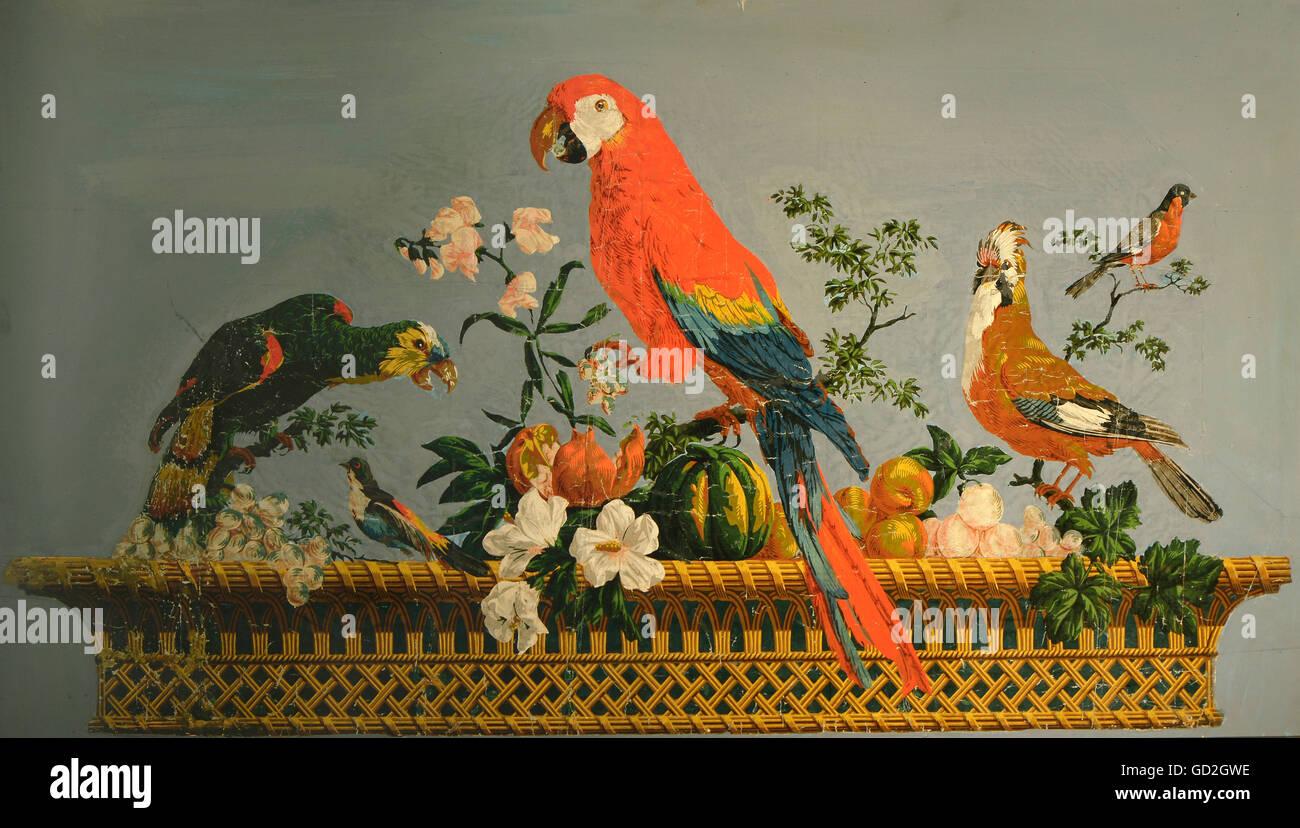 Beaux-arts, le papier peint, une corbeille de fruits avec des perroquets et des geais, après design by Laurent Photo Stock