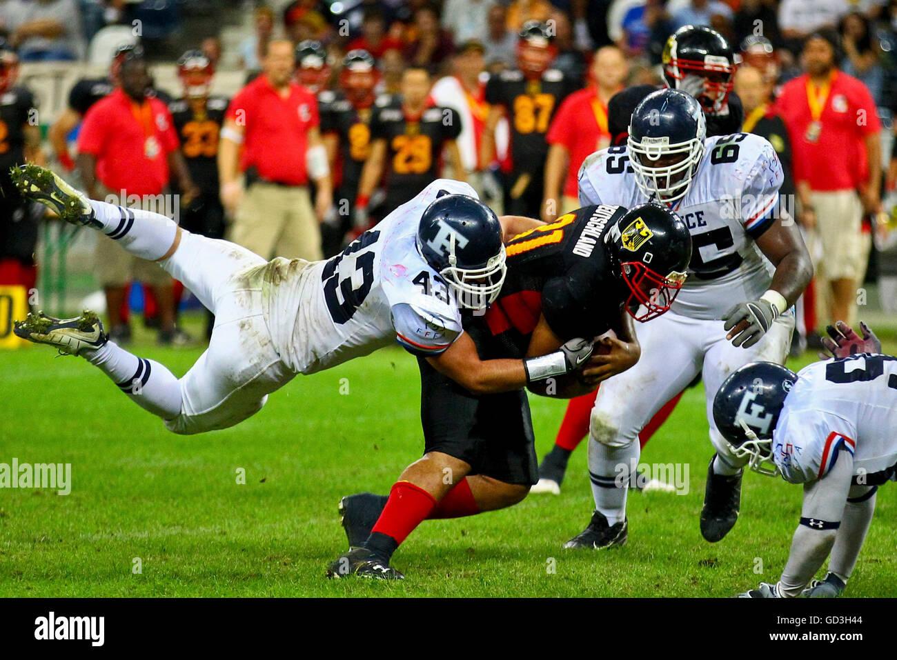 American Football, championnat d'Europe 2010, l'Allemagne et la France dans la Grande Finale de la Commerzbank Photo Stock