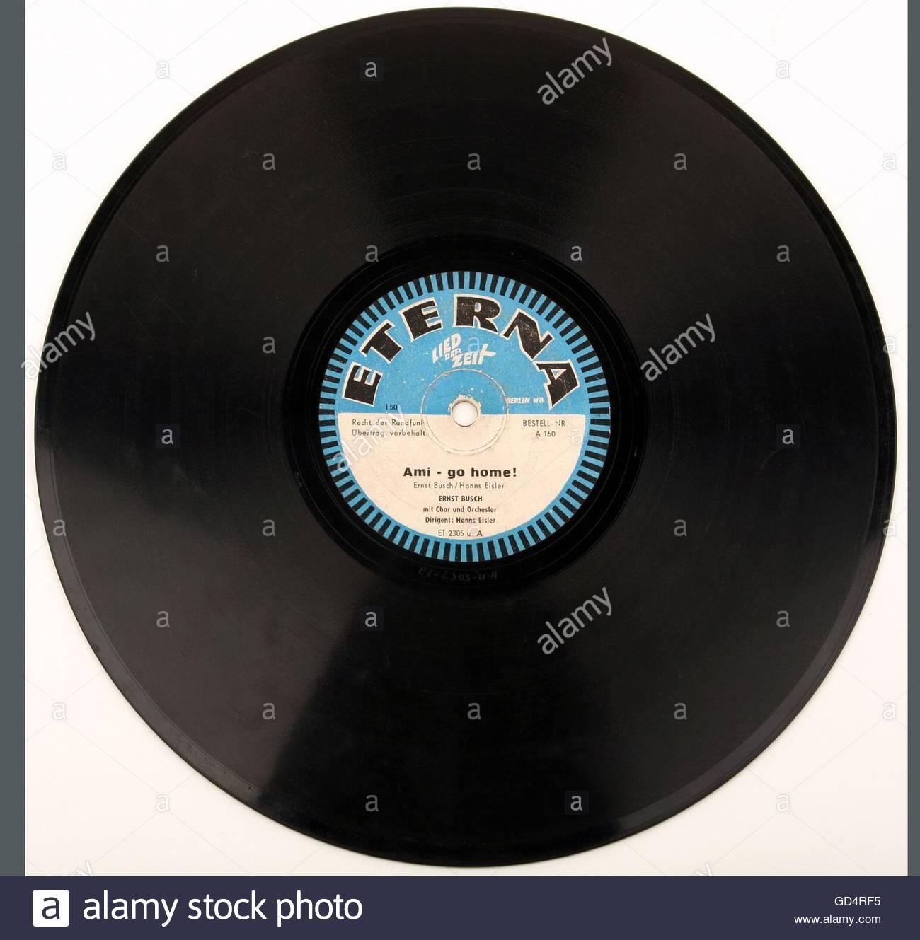 """Technics, audio, shellac enregistrez """"Ami aller à la maison!', Étiquette, Eterna East-Germany, Photo Stock"""