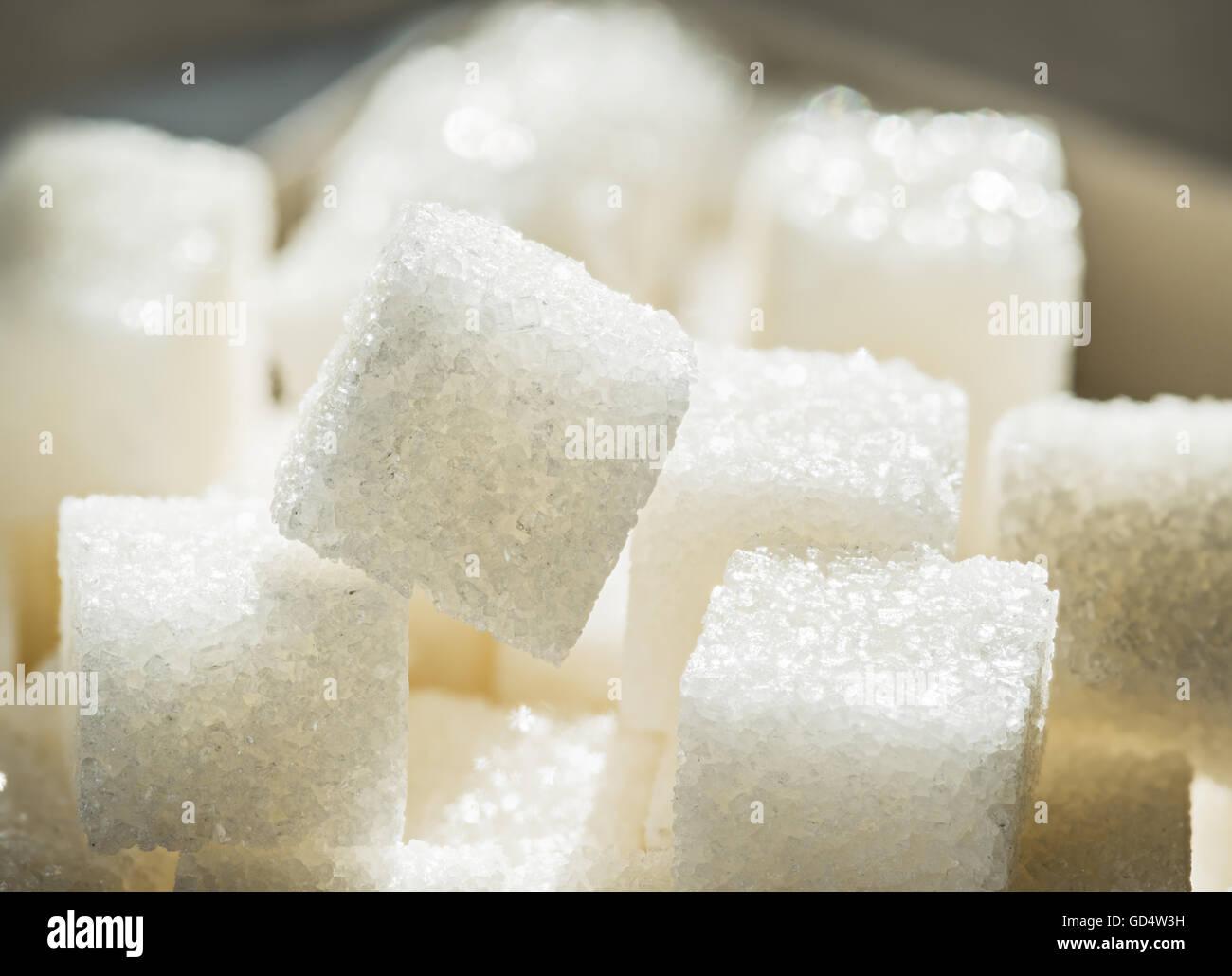 Gros plan de la raffinerie de sucre blanc. Photo Stock