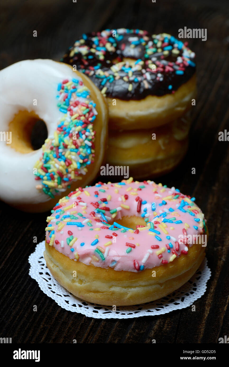 Donuts Zuckerguss, Zuckerglasur Photo Stock