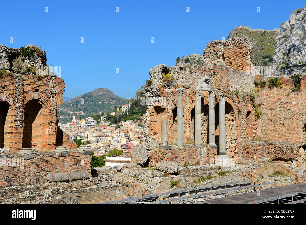Théâtre grec - Taormina, Sicile, Italie Photo Stock