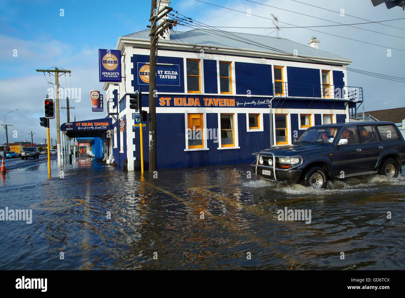 Brasserie au cours St Kilda South Dunedin Dunedin, inondations, île du Sud, Nouvelle-Zélande Banque D'Images