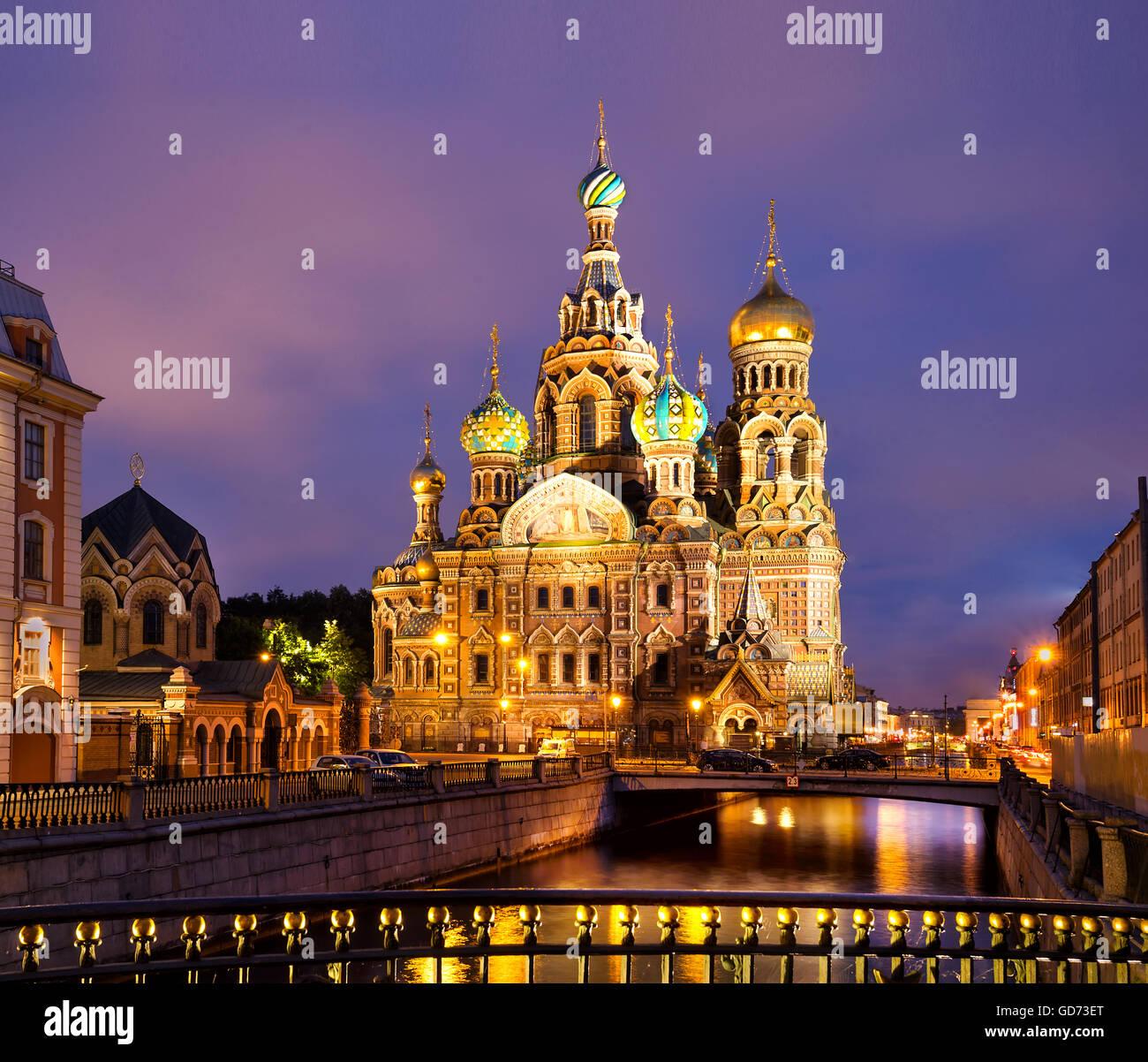 Cathédrale du Sauveur sur le Sang Versé à Saint-Pétersbourg, en Russie. Photo Stock