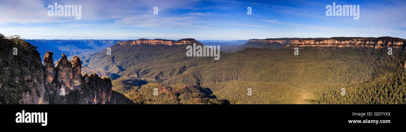 Vue panoramique du Grand Canyon dans les Blue Mountains, Australie. À partir de trois sœurs pics rock pierre de Banque D'Images