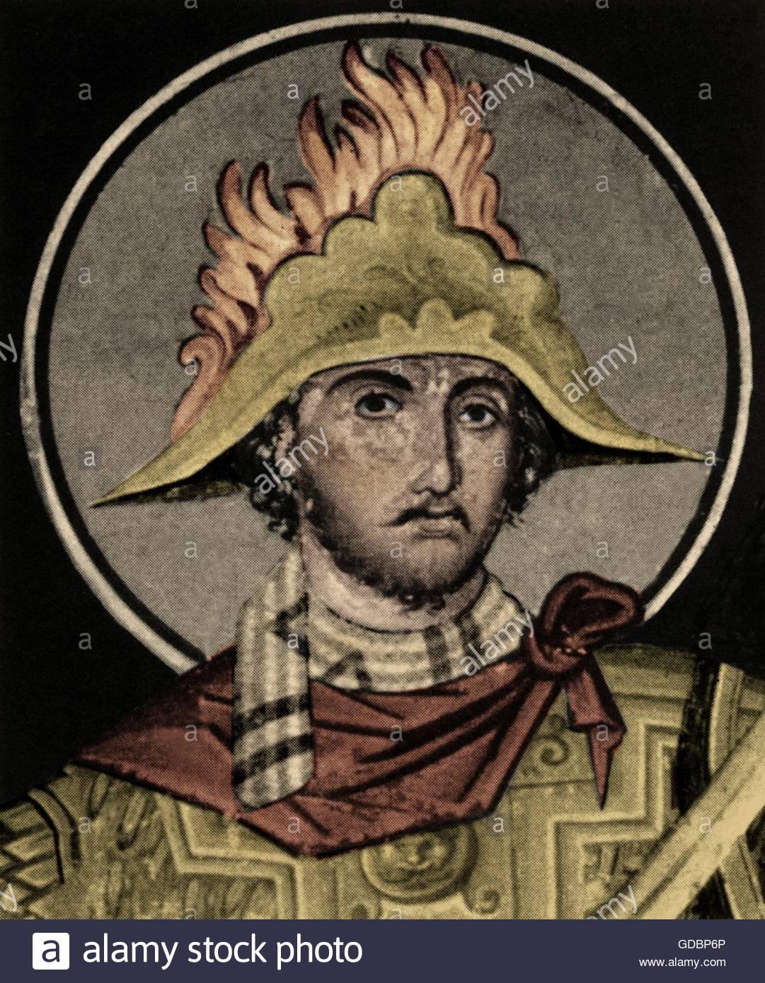 Roger de Flor, 1267 - 4.4.1306, corsaire allemand et chef de mercenaires, portrait, après fresque Byzantine, Photo Stock