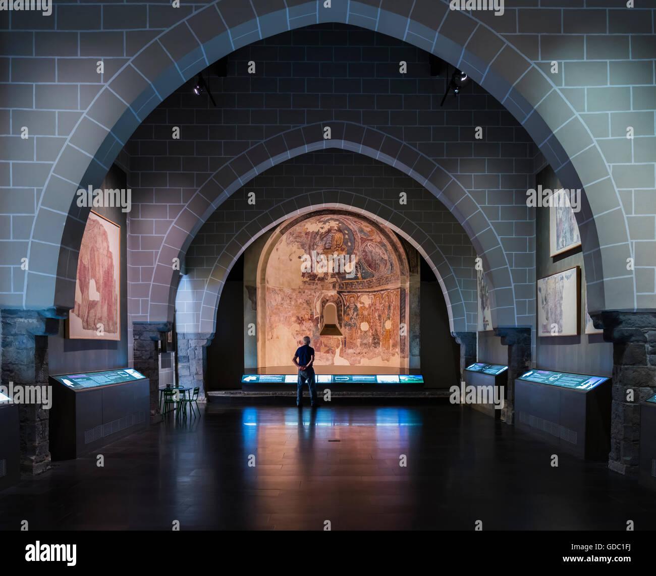 La province de Jaca, Huesca, Aragon, Espagne. Une chambre dans le Musée Diocésain de Jaca (Museo Diocesano Photo Stock