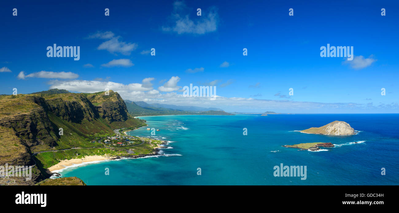 USA, Hawaii, Oahu, Honolulu, akapuu point state route Photo Stock