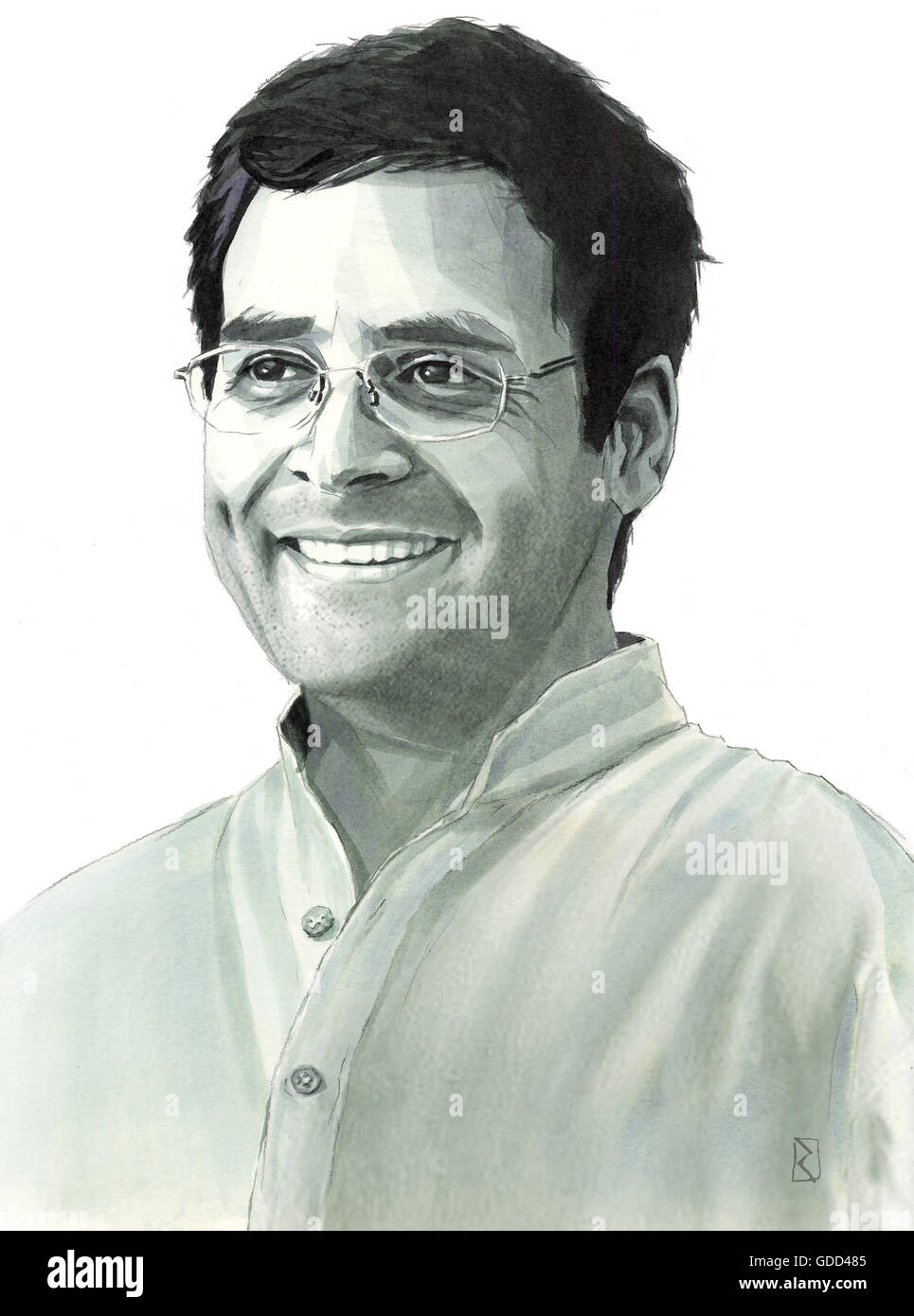 Gandhi, Rahul, * 19.6.1970, homme politique indien, portrait, dessin monochrome par Jan Rieckhoff, 22.5.2009, l'artiste Photo Stock
