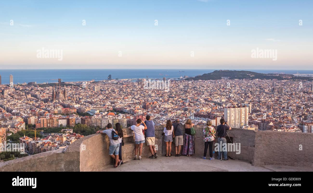 Espagne Catalogne Barcelone,,Ville,panorama au coucher du soleil Photo Stock