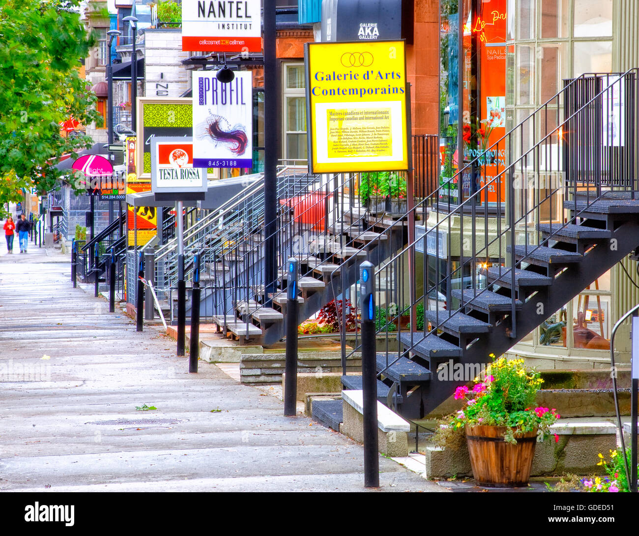 La rue Crescent de Montréal Photo Stock