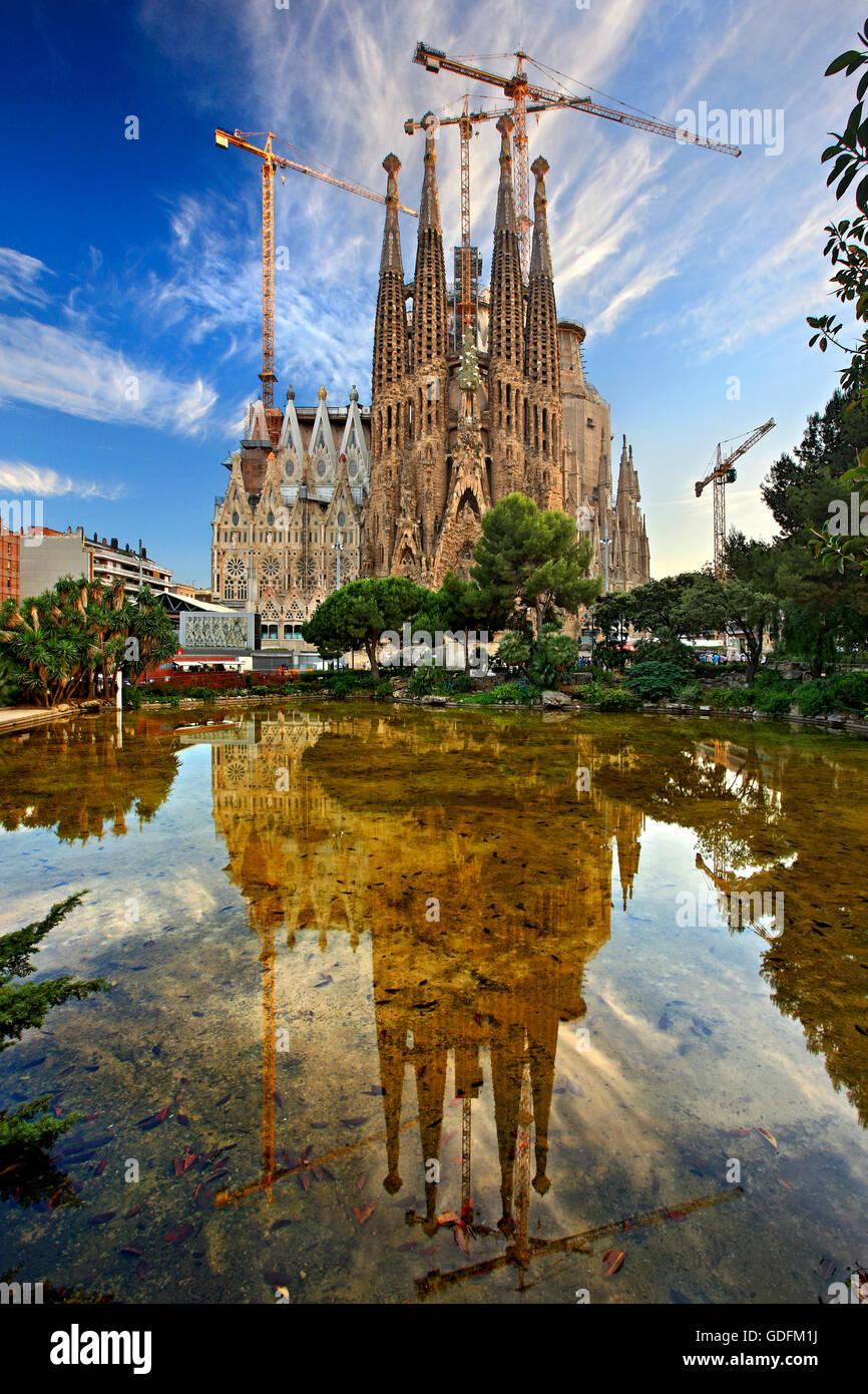"""La Sagrada Familia, le chef d'oeuvre de l'architecte Antoni Gaudi et """"marque"""" de Barcelone, Catalogne, Photo Stock"""
