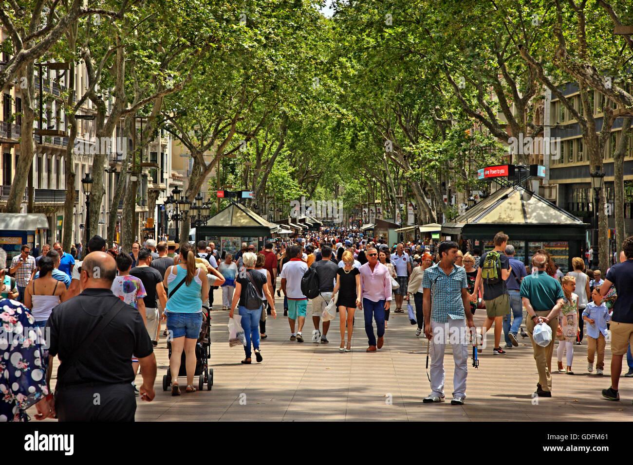 Sur Las Ramblas, la rue la plus célèbre de Barcelone (et l'un des plus célèbres du monde), Catalogne, Espagne Banque D'Images