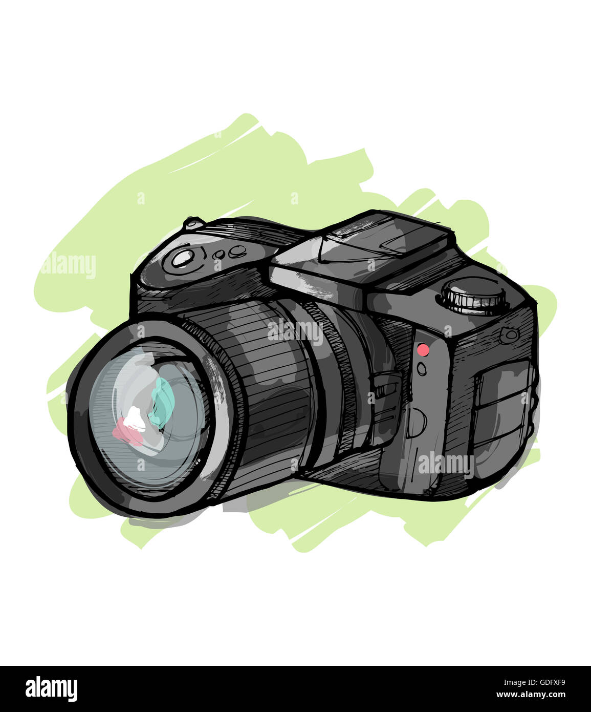 Dessin Appareil Photo hand drawn vector illustration ou dessin d'un appareil photo reflex