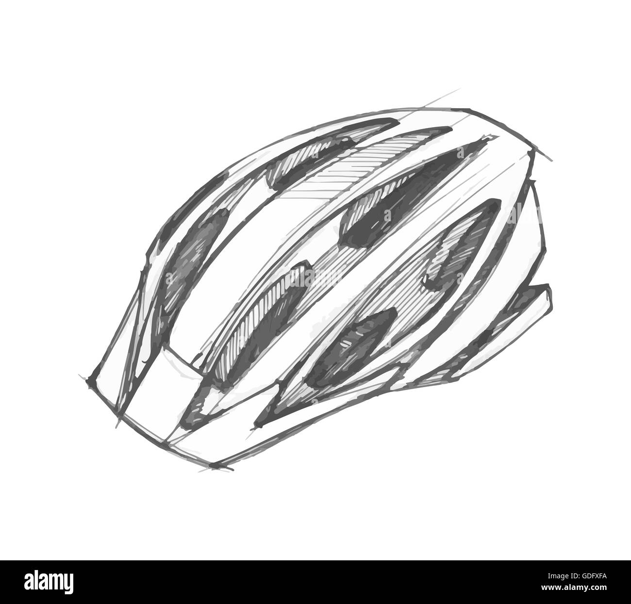 Vector illustration ou dessin d 39 un casque de cycliste - Dessin cycliste ...