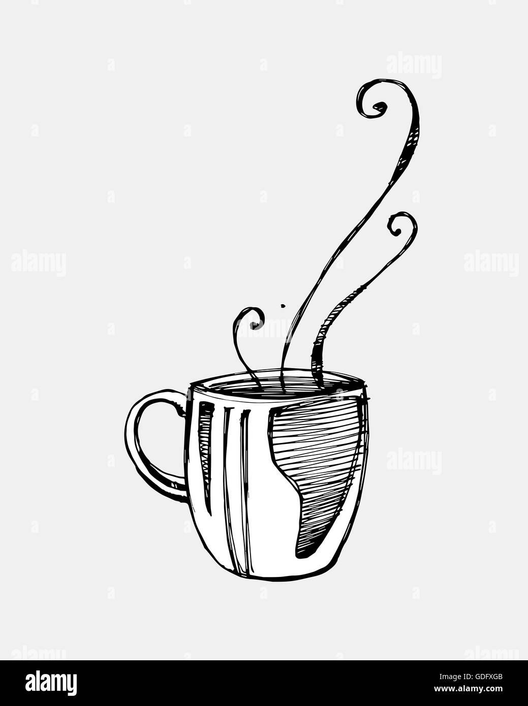Dessin Tasse De Café Fumant doodle steaming cup coffee photos & doodle steaming cup coffee