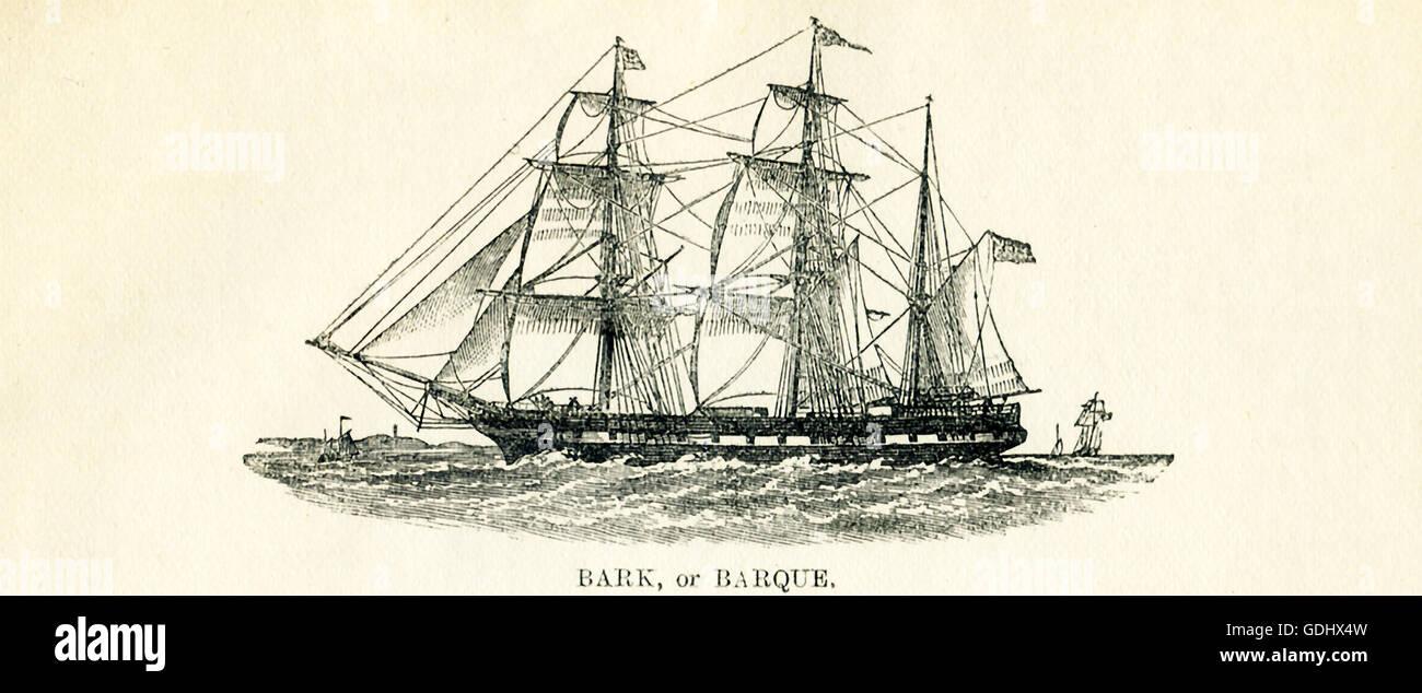 Le navire apparaissant dans ce 19e siècle dessin est une écorce (également orthographié barque). Photo Stock