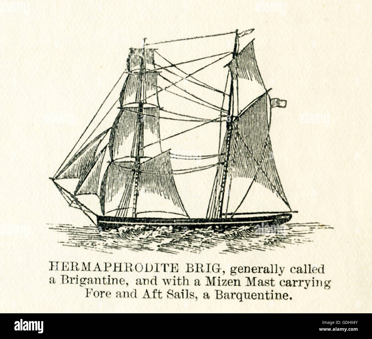 Le navire apparaissant dans ce 19e siècle dessin est un hermaphrodite brig. Photo Stock