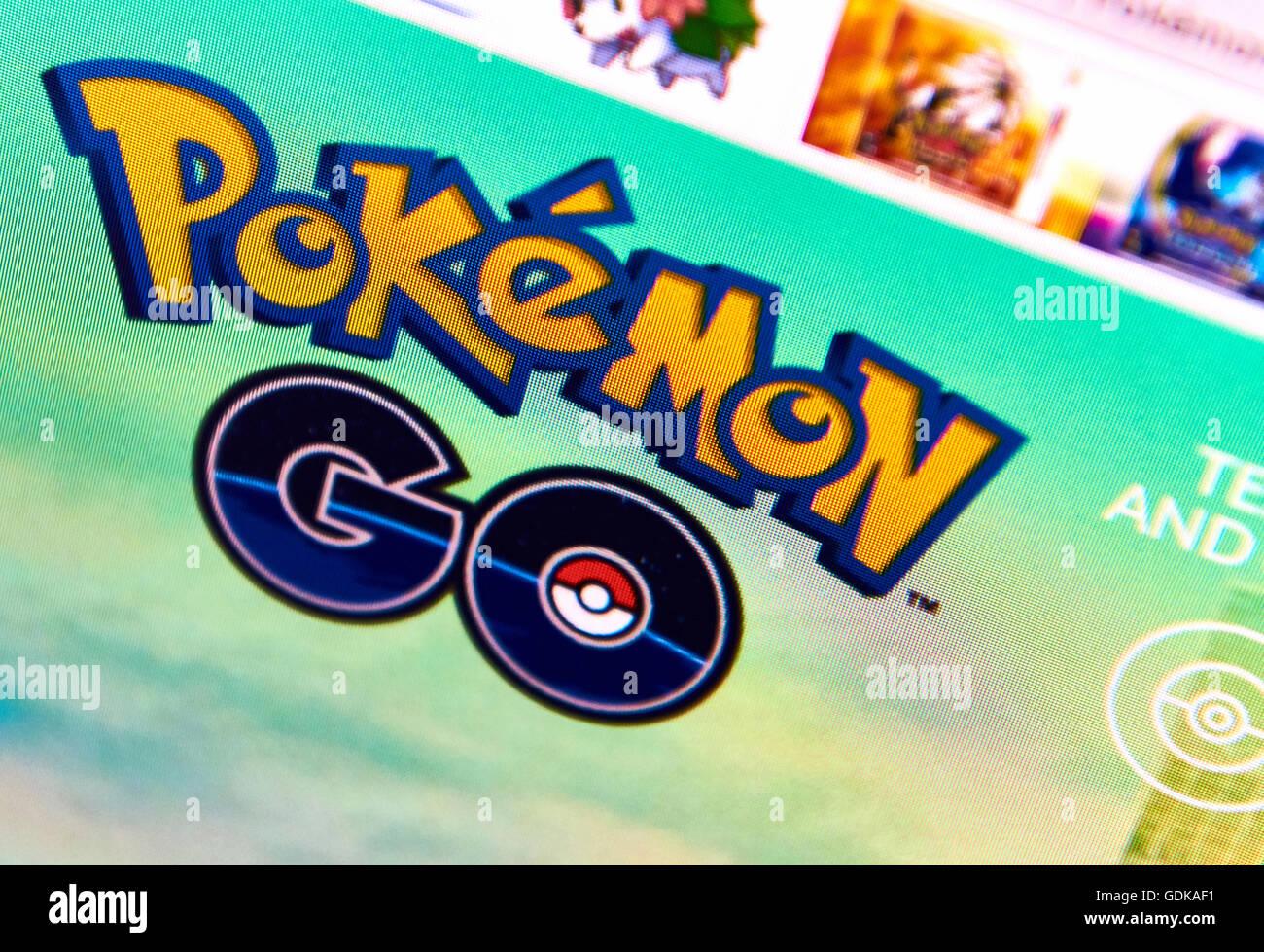 Pokemon Rendez-vous page d'accueil sur un écran de surveillance Photo Stock