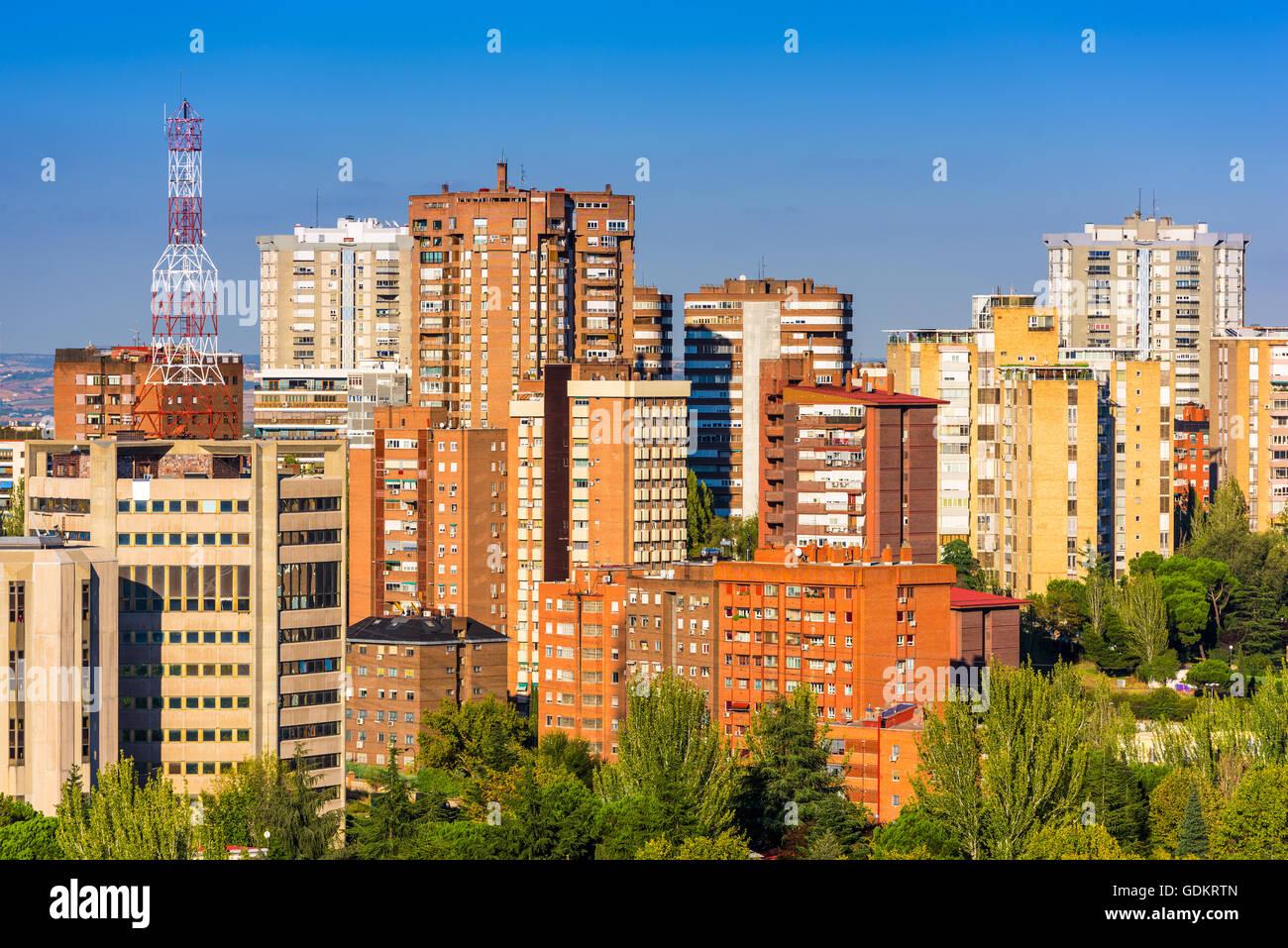 Espagne, Madrid, Metropolitan, centre-ville, s'élève, appartements, Iberia, vue, d'affaires, d'Europe, Photo Stock