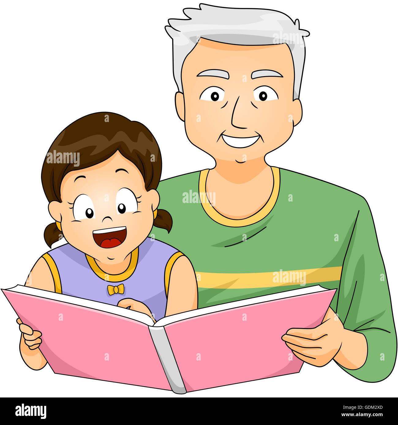 Illustration D Un Grand Pere Lire Un Livre A Sa Petite Fille