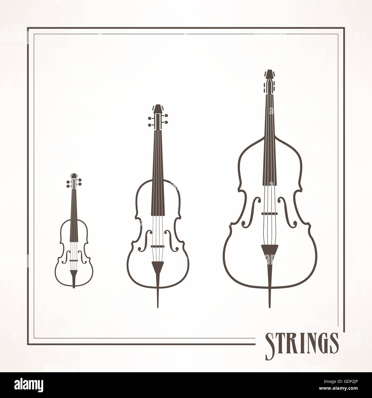 Musique classique les instruments à cordes: violon, alto, violoncelle et contrebasse Photo Stock