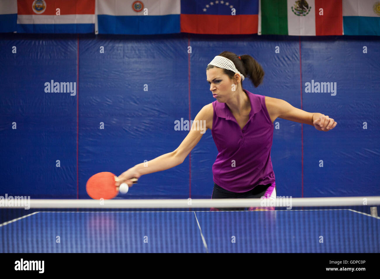Formation de joueur de tennis de table Photo Stock