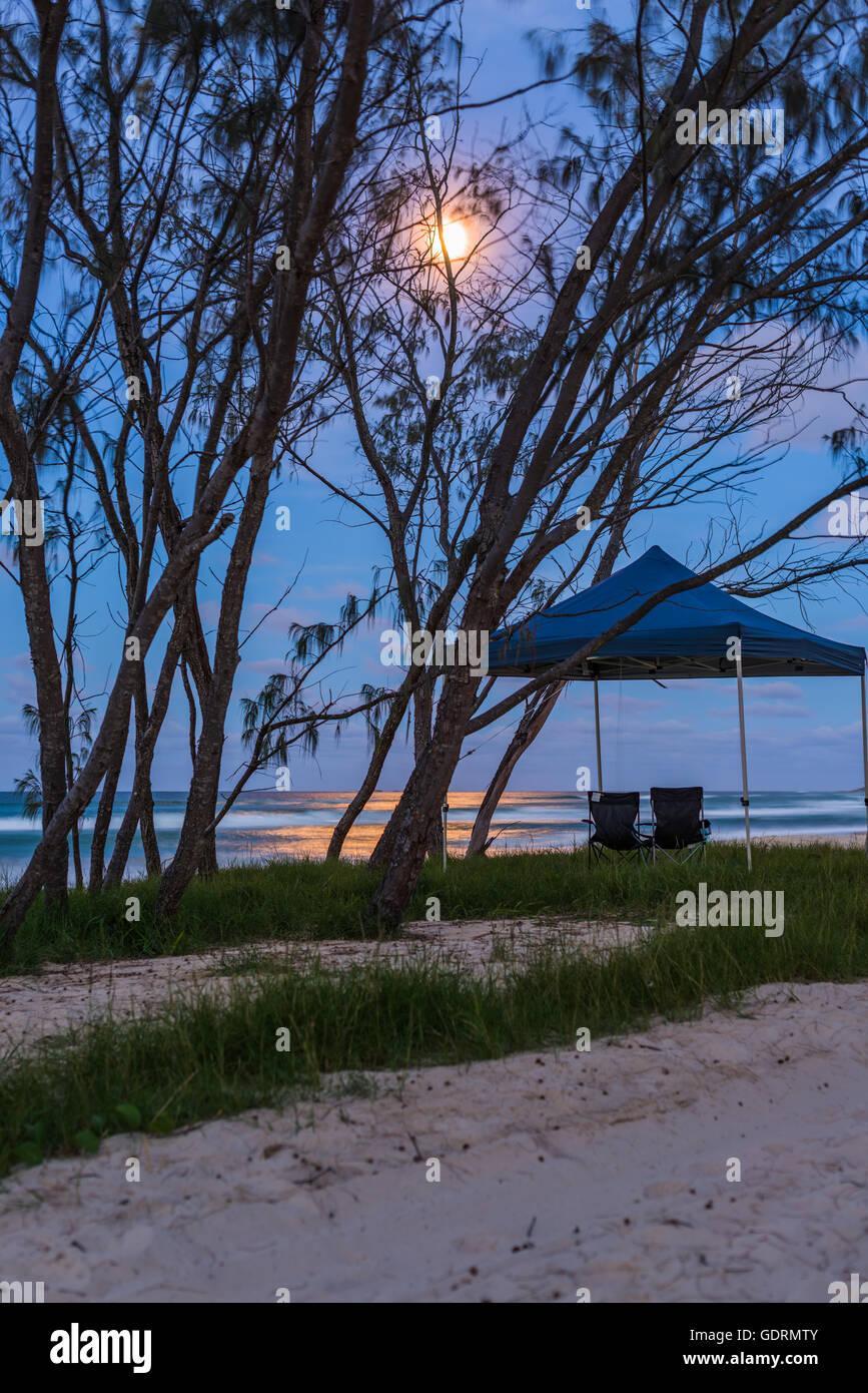 Sous la lumière de la lune, deux chaises assis côte à côte sur la plage à North Stradbroke Island Banque D'Images