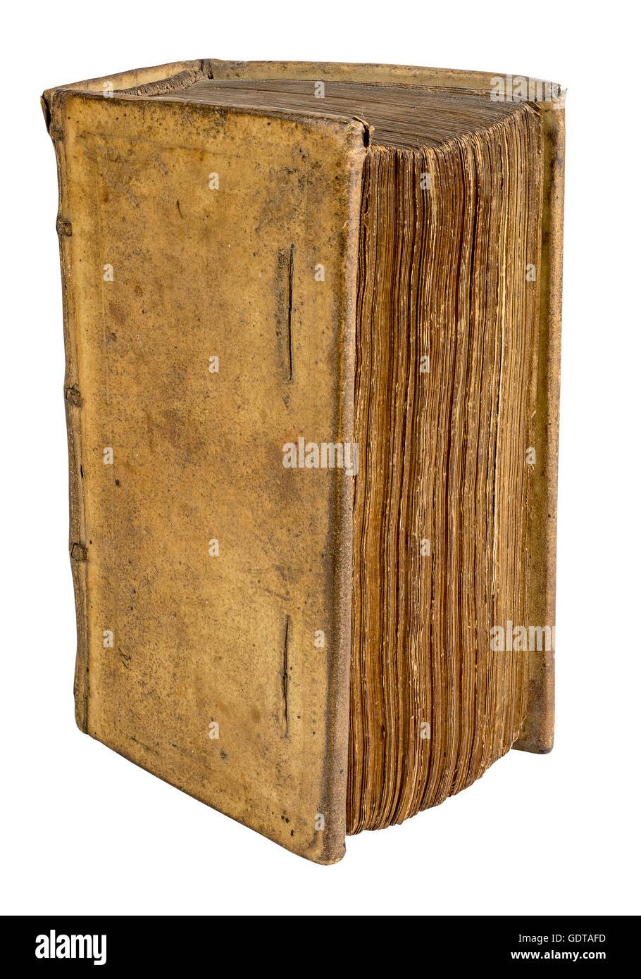 Tres Vieux Livre Relie En Cuir Ancien Isole Sur Fond Blanc
