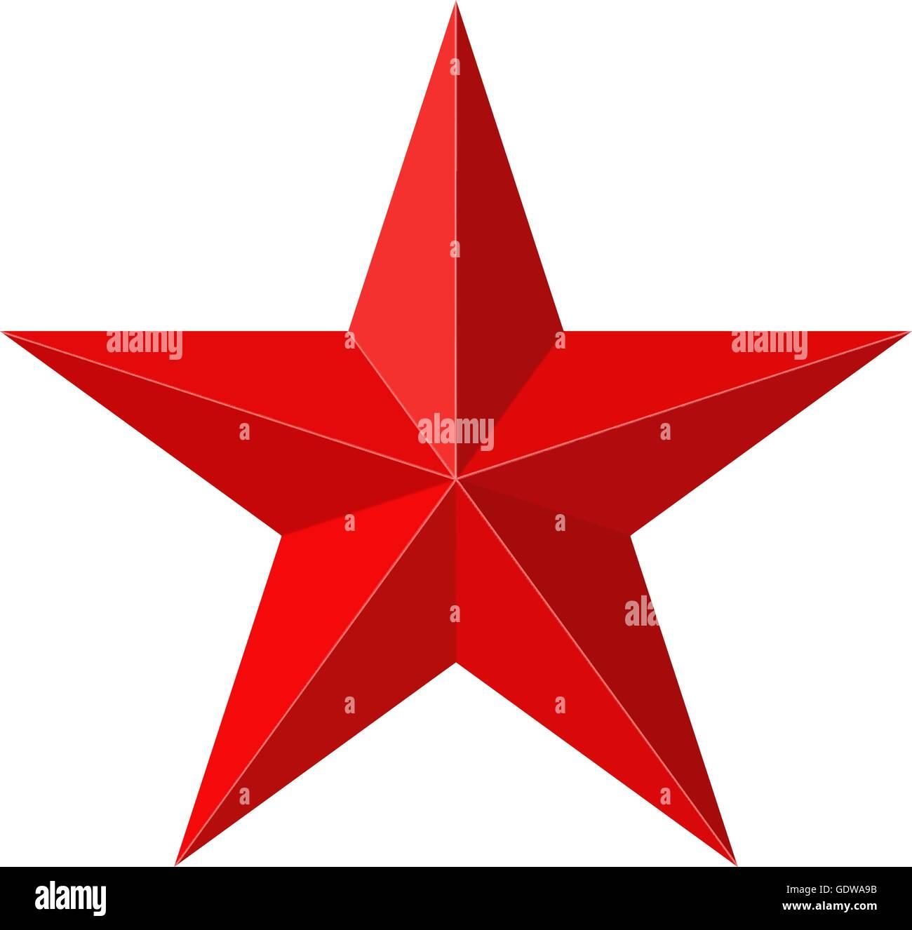 L'étoile rouge de la forme 3D Photo Stock