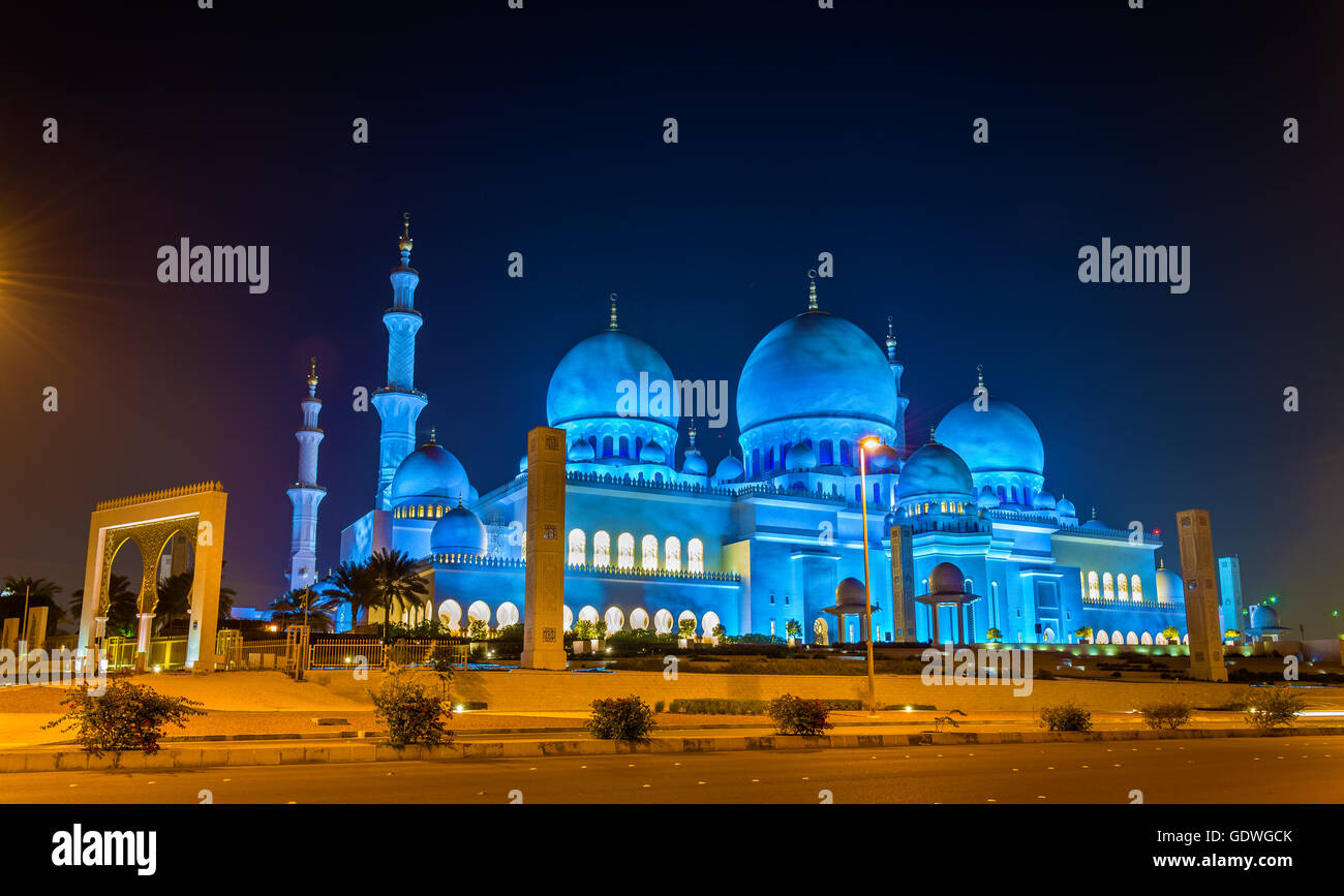 Grande Mosquée de Sheikh Zayed à Abu Dhabi, Émirats arabes unis Photo Stock
